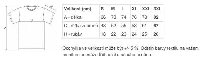 92a6a9b97685 Na obrázku je ilustrační tabulka velikosti trička v centimetrech.